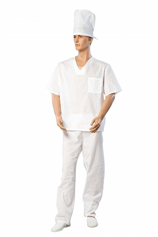 Костюм пекаря универсальный блуза с брюками белый ткань бязь