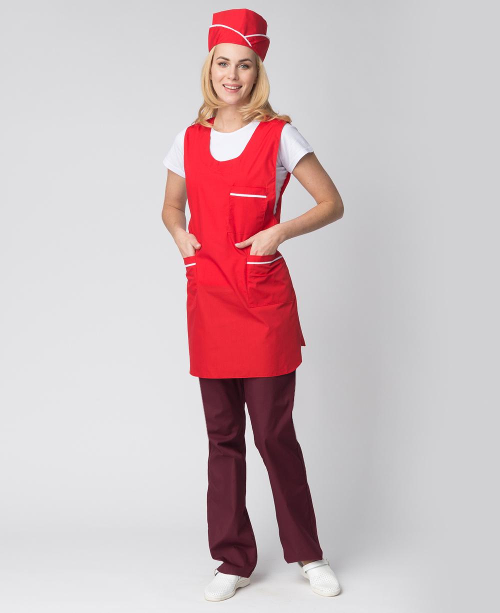 Комплект женский Хозяйка тк Тиси красный белый фартук пилотка