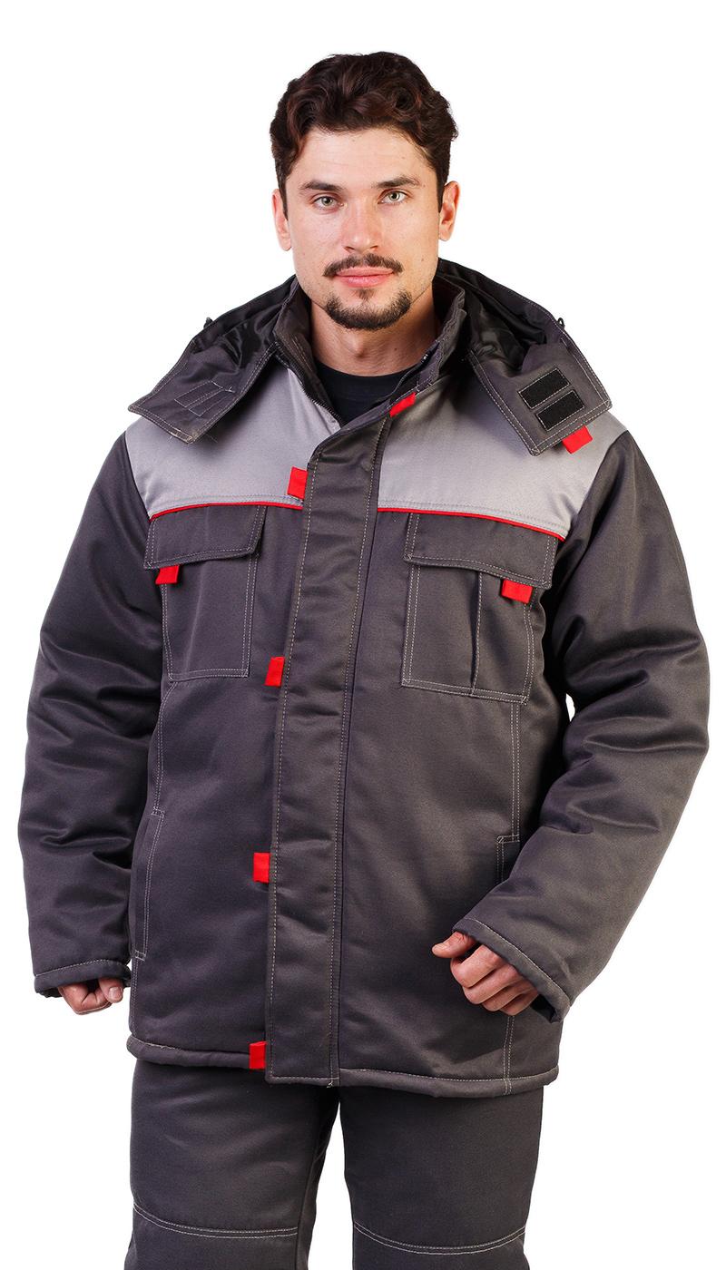 Костюм мужской Фаворит зимний куртка с полукомбинезоном серый со светло-серым