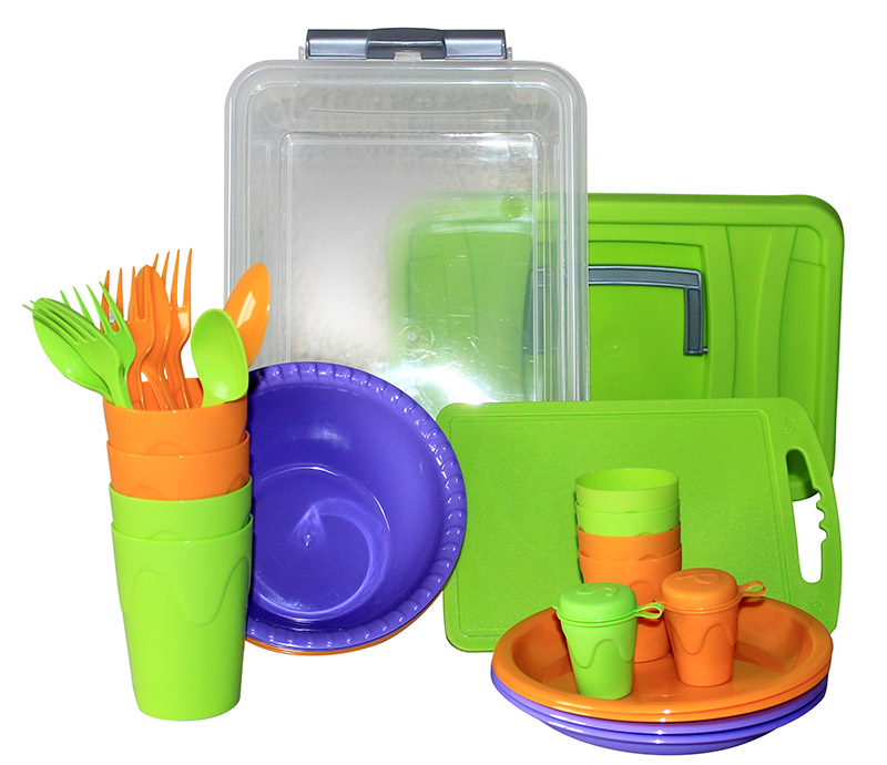 Набор для пикника СЛЕДОПЫТ Weekend пластик на 4 персоны сумкаPF-CWS-PS01