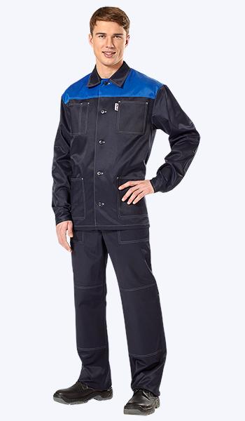 Костюм рабочий мужской Аскет темно-синий с васильковой кокеткой