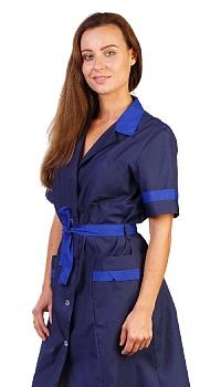 Халат женский Адель т-синий с васильковым короткий рукав