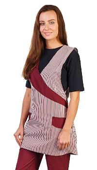 Комплект женский София бело-бордовый брюки фартук